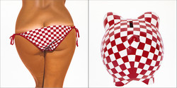 RED AND WHITE SQUARES BIKINI - BANK