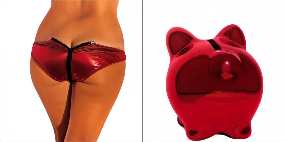 Red Metallic Bikini Bank