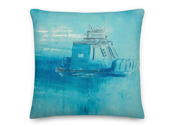 Blue Drummond Island Ferry Print Pillow