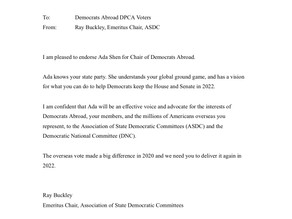 Ray Buckley, Emeritus Chair, Assoc. of State Democratic Committees (ASDC) for Ada Shen for Chair