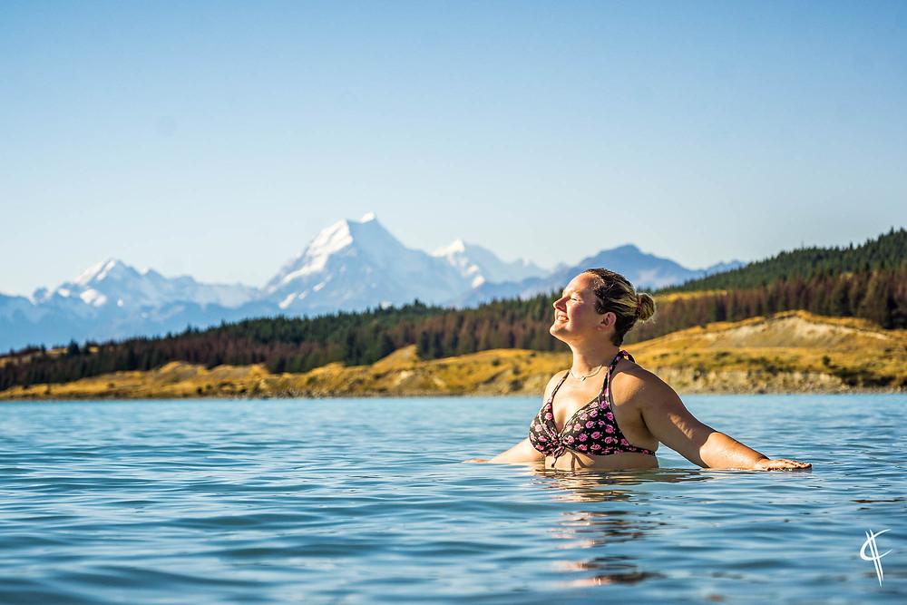 Taking a bath in Lake Pukaki