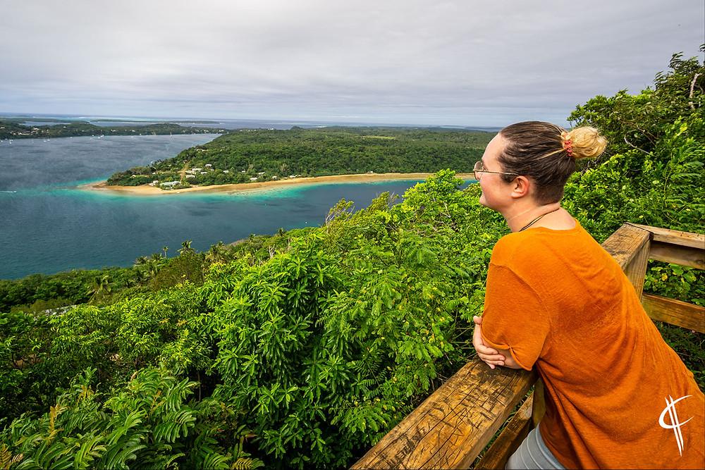 Caro enjoys the view from Mt. Talau