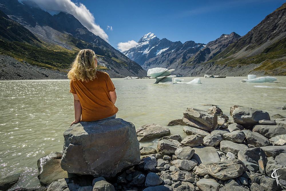 Caro looking at Mount Cook