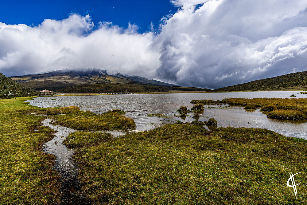 Cotopaxi (in the clouds) with Laguna Limpiopunga