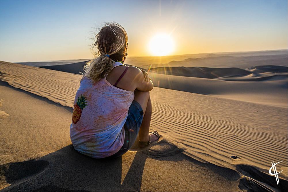 Sunset in the desert, Huacachina