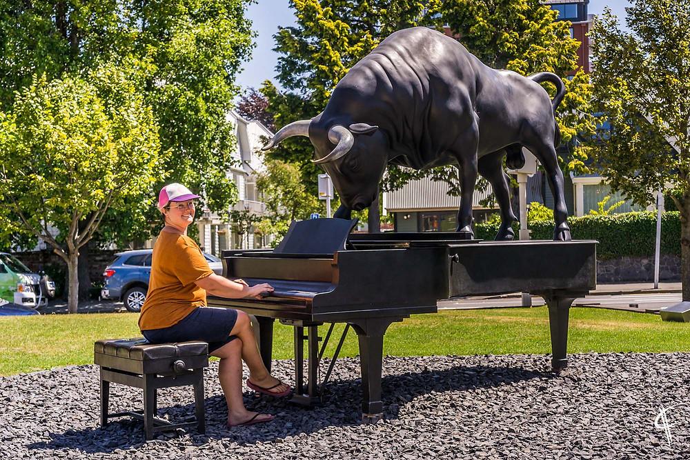 Bull on the piano