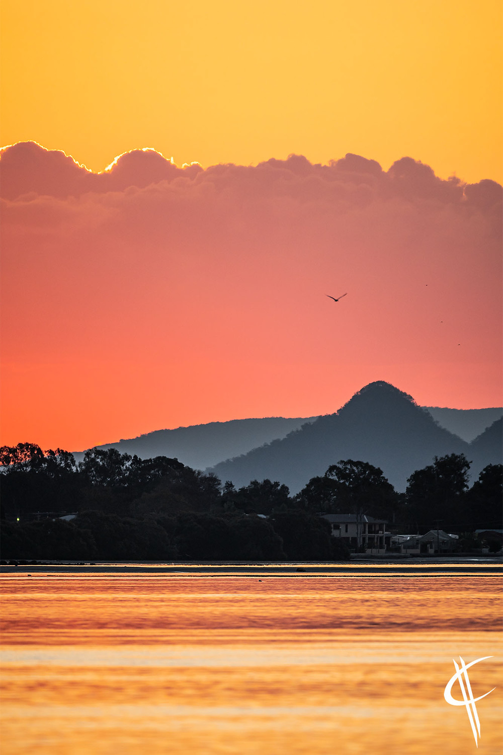 Sunset over the Glasshouse Mountains