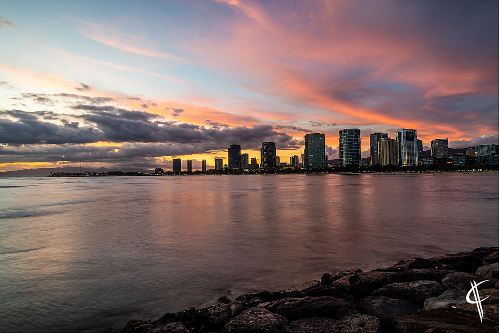 Sunset over Honolulu