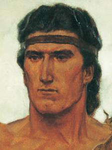 Nephi, Book of Mormon prophet, head shot, painting, headband, orange skin,