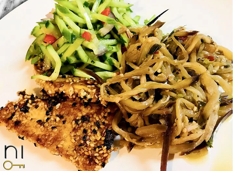 low carb : sesame tofu + eggplant