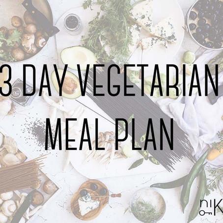 3 day vegetarian meal plan