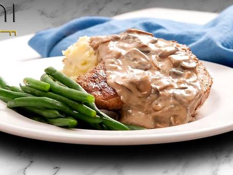 low carb : pork chop + mushroom wine sauce