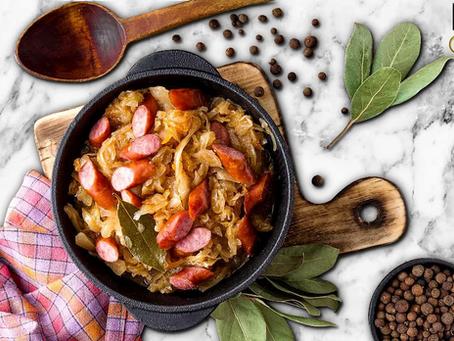 low carb : kielbasa + cabbage skillet