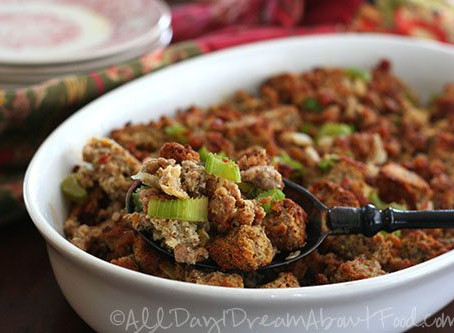 low carb thanksgiving : spicy sausage and cheddar stuffing