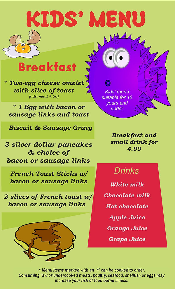 Cherokee Restaurant Kids Menu Breakfast.