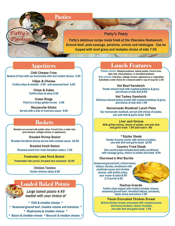 Cherokee Restaurant Muskegon Lunch Menu