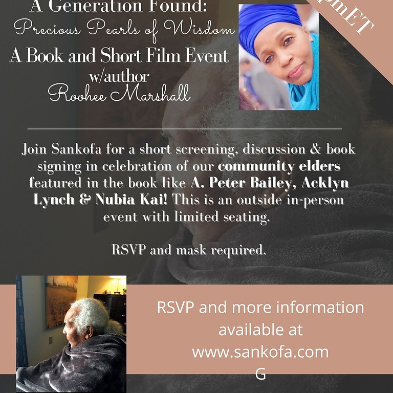 A Generation Found: Precious Pearls of WIsdom Meet & Greet with Author and Photographer, Roohee Marshall