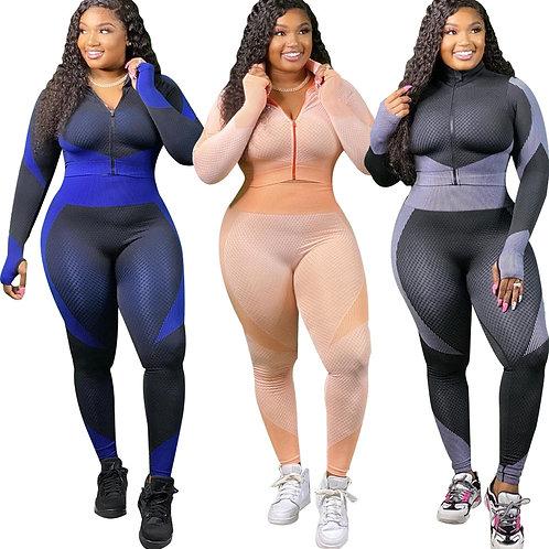 Echoine Plus Size Suit Color Large Size Two-Piece Set Fitness Tracksuit