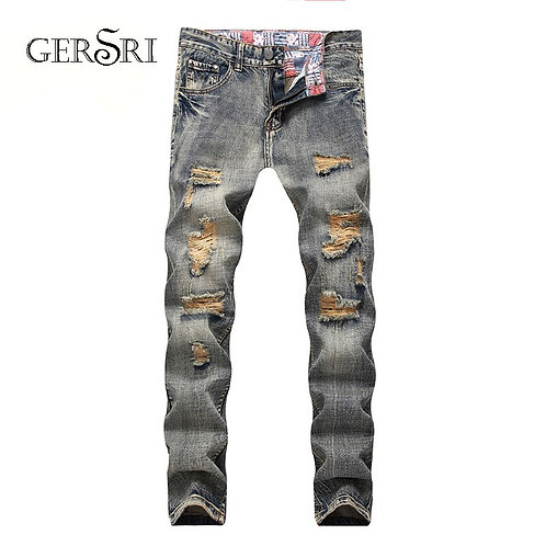 Gersri Jeans Men With Holes Denim Destroyed Slim Fit Jean Long Pants