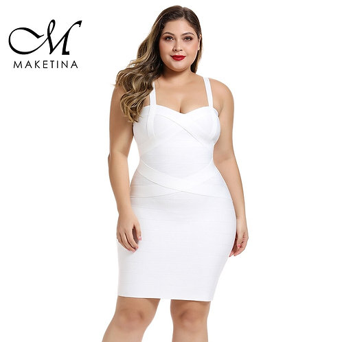 Maketina Plus Size Bandage Dresses Spaghetti Mini White Plus Size