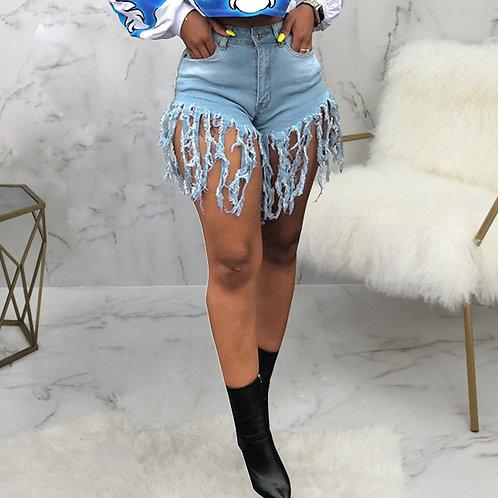 Tassel Sexy Jeans Shorts Women Summer High Waist Cotton Jean Short Plus Size