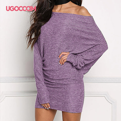 UGOCCAM Women Dress Off Shoulder Sexy Party Night Dress Winter Dress Plus Size