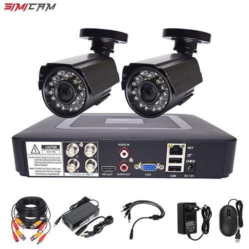 Security Camera Cctv System Kit Video Surveillance 2 Camera HD 720p/1080p