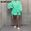Thumbnail: Women O-Neck Puff Sleeve Drapped Mini Dress Loose Style Plus Size Dress