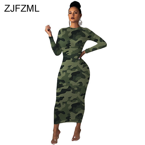 Camouflage Bodycon Tshirt Dress Women Round Neck Skinny Long Sleeve Dress