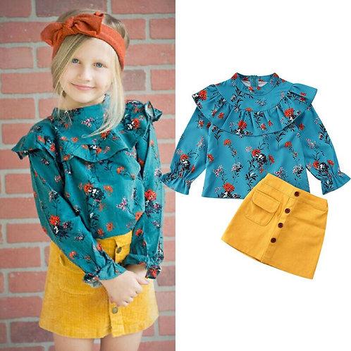 Kids Boutique Clothes Set 2Pcs Infant Kids Baby Girl Long Sleeve Ruffles Tops