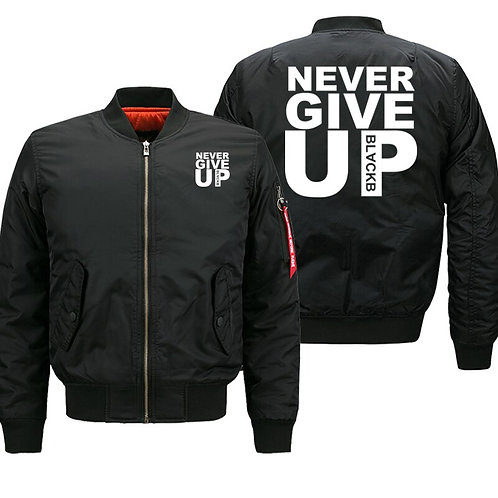 Bomber Jacket Never Give Up Streetwear Thick Coat Men Jackets Plus Size 8XL