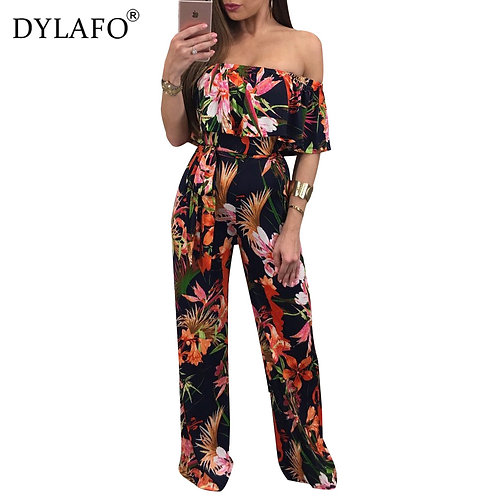 Bohemian Palm Print Lace Up Jumpsuits&Rompers Off Shoulder Plus Size