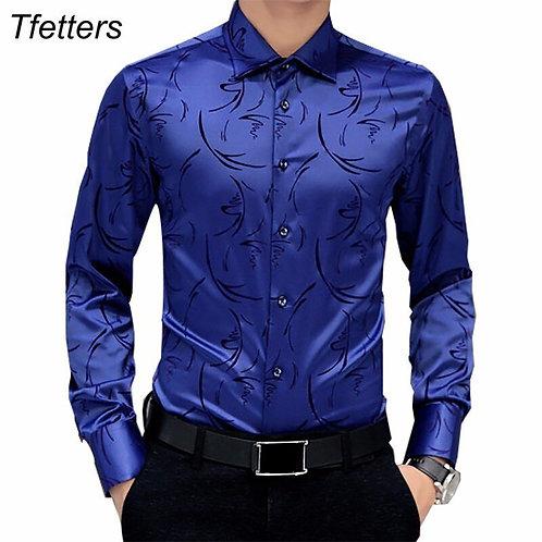 Luxury Brand Mens Formal Shirts Long Sleeve