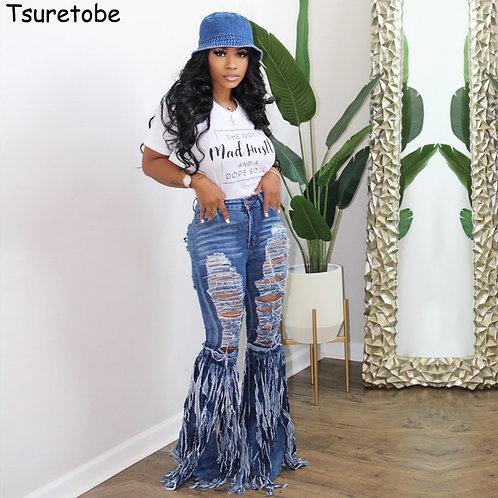 Tsuretobe Ripped Jeans for Women  Flare Jeans Fringe High Waisted Jeans