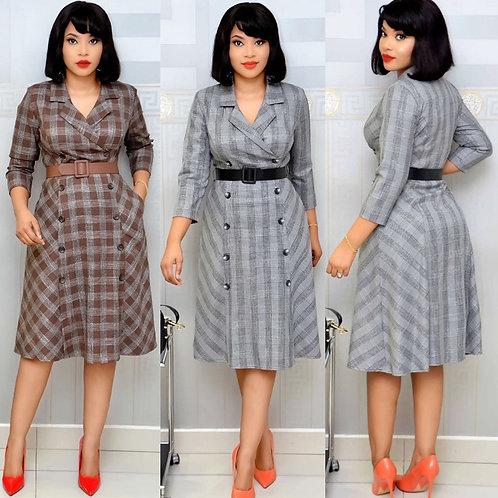 HGTE 2020 Plus Size Grey Women's Dress Printed Plaid Office Work Dress Free Belt