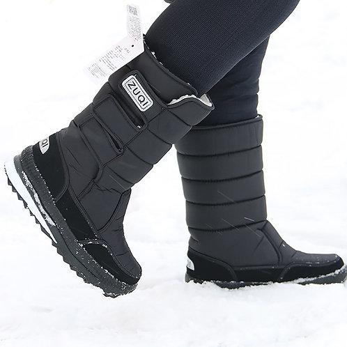 Platform Men Snow Boots Waterproof Nylon Plus Size 45-47 Winter Black