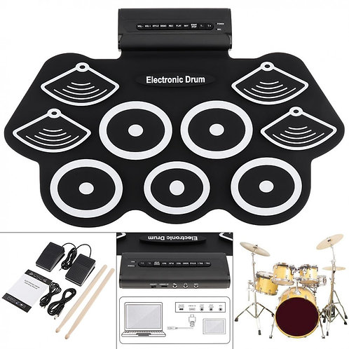 9 Pads Electronic Roll Up Thicken Silicone Drum