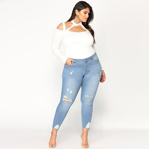 Fashion Jeans Plus Size Ripped Skinny Jeans Pants High Waist Pencil Trousers