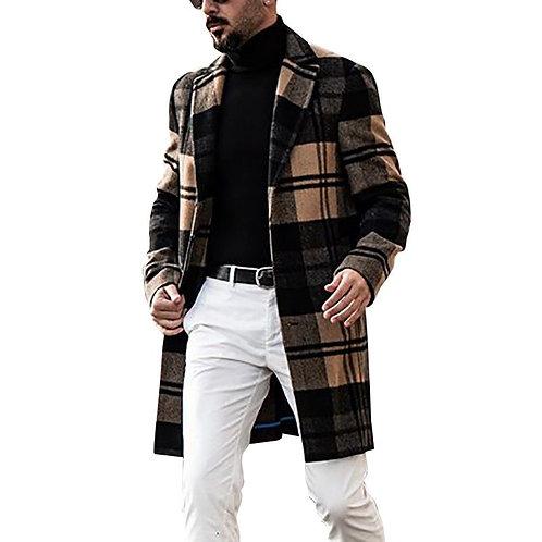 Check Print Coat Trench Mens 2020 Jacket Men's Slim Fit Men Winter Coat