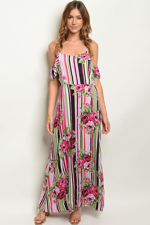 Womens Stripes W/ Flowers Dress