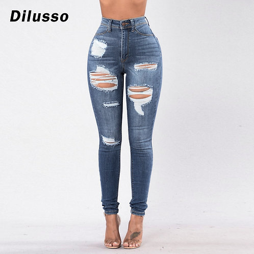 2020 Fashion Women Stretch Mid Waist Jeans New Pure Color Skinny Ripped Jeans