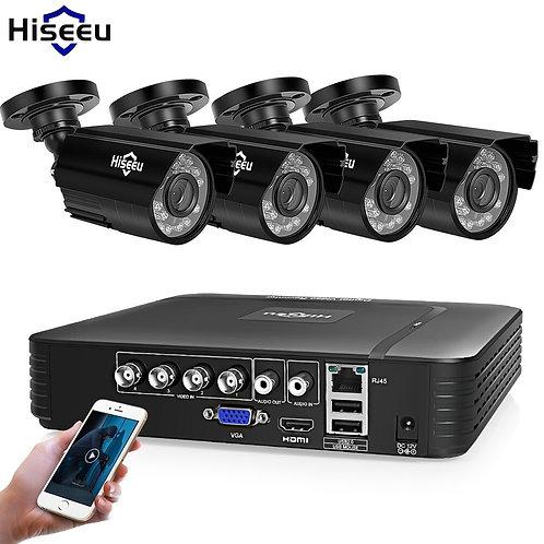 Hiseeu Home Security Cameras System Video Surveillance Kit CCTV 4CH 720P 4PCS