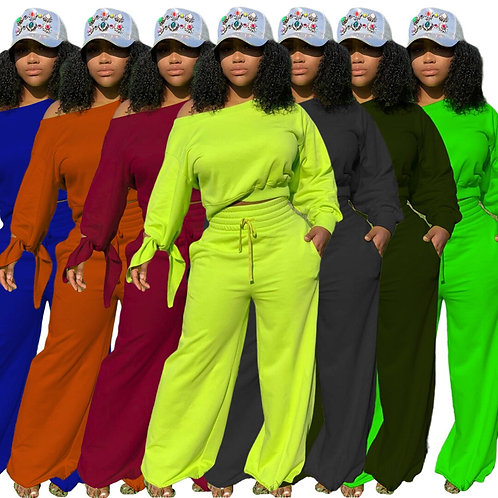 Women's Solid Color Sweatsuit Tracksuit Two Piece Set