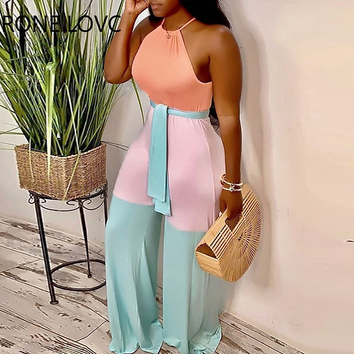Women Sleeveless Halter Contrast Color With Sashes Jumpsuits