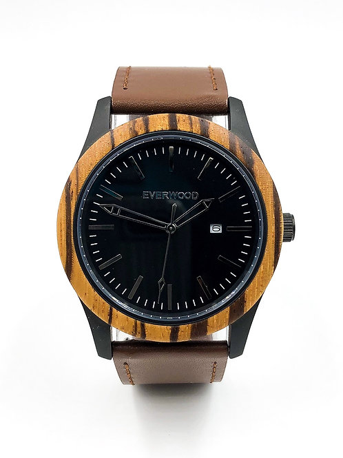 Inverness | Zebrawood | Brown Leather