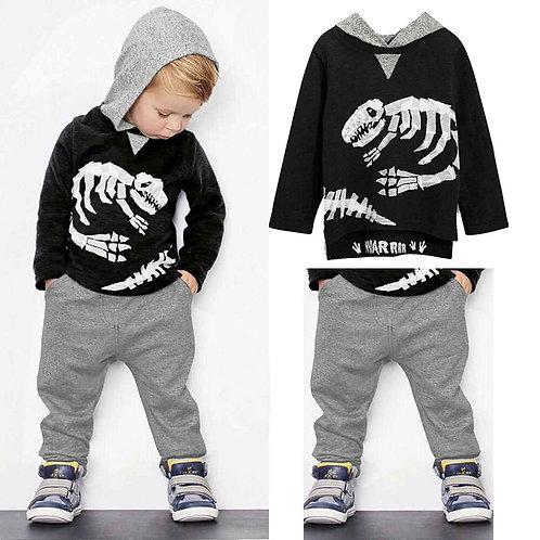 Baby Boys Clothes Toddler Kid Long Sleeve Dinosaur Hooded Sweatshirt