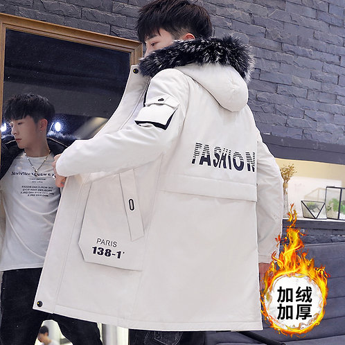 2020 Mens Winter Plus Size Casual Warm Thick Fur Collar Hooded Jacket Men Coat