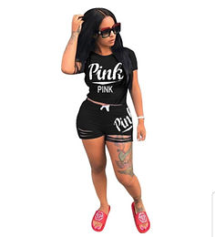 (Black Pink)Women Casual Set - two piece Black Fabric pink letter
