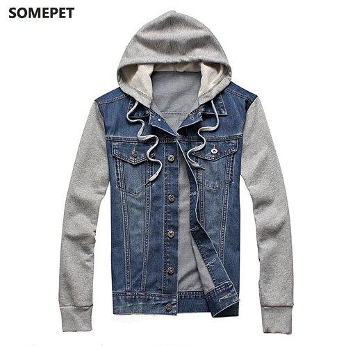 Denim Men Hooded Sportswear Outdoors Casual Fashion Jeans Jacket