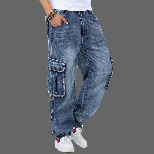 Men's Baggy Multi Pockets Skateboard Cargo Jeans